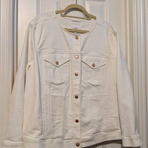 Loft White Denim Jacket size 22